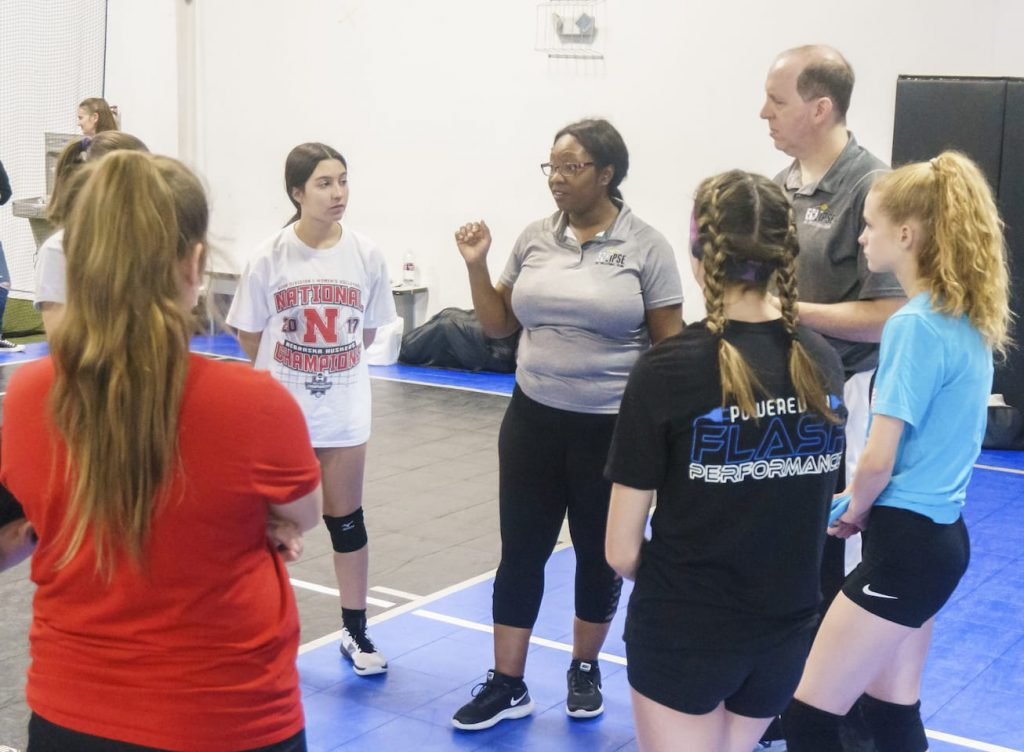 volleyball Training Session may 2019 - Kansas City north's Eclipse Volleyball Club KC - coach diane and coach charles instructs 15u