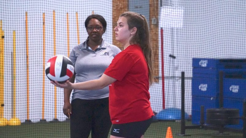 May 2019 volleyball Training Session - Kansas City north's Eclipse Volleyball Club KC - coach diane watching 15u