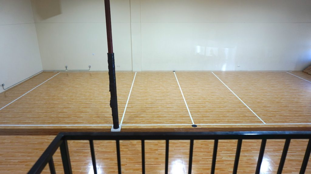 side view of volleyball court