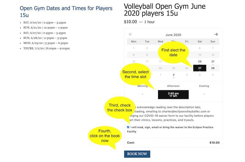 volleyball open gym june 2020 dates and time slots - Eclipse volleyball club kc